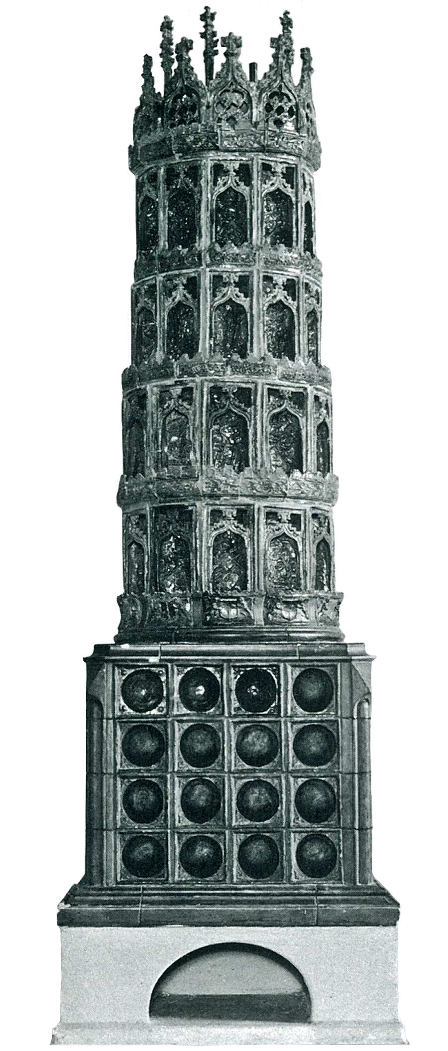 Rekonstruction of a stove with half cylinder tiles dating 1473 Museum of Applied Arts Dresden from Franz 1981 fig. 102. 72dpi 900